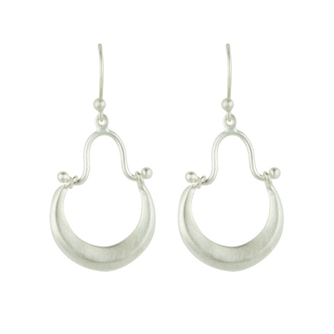 Satin Stirrup Earrings In Silver