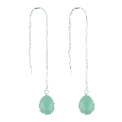 Fluency Earring In Aqua Chalcedony And Silver
