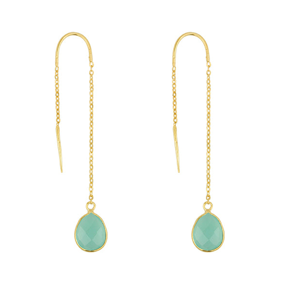 Fluency Earring In Aqua Chalcedony And Gold