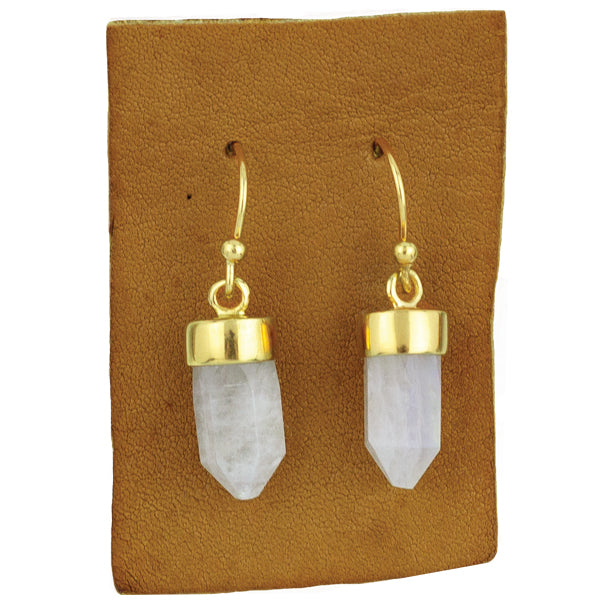 Gold And Moonstone Prism Drop Earrings