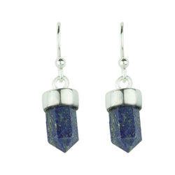 Silver and Lapis Prism Point Hook Earrings