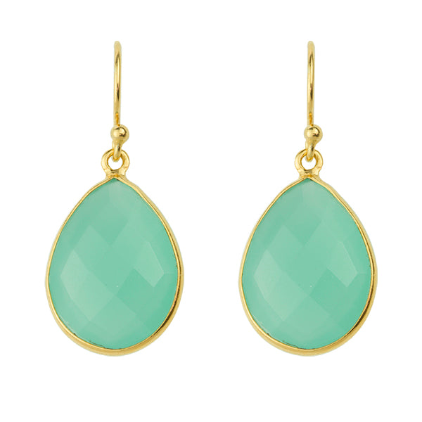 Cut Stone Earring In Aqua Chalcedony And Gold