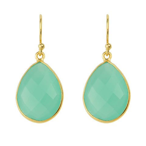 Valiancy Earring In Aqua Chalcedony And Gold