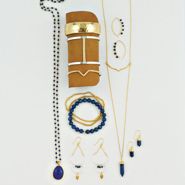 Gold and Lapis Prism Drop Earrings