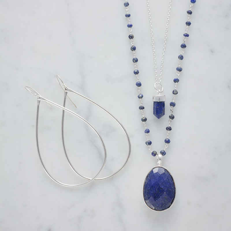 Prism Point Necklace In Silver And Lapis