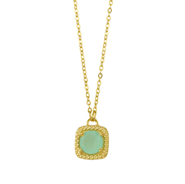 Let it Glow Necklace In Aqua Chalcedony And Gold