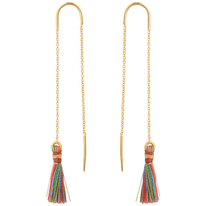 Multi Color Tassel Threader Earrings In Gold