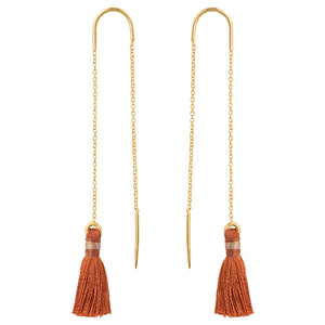 Copper Tassel Threader Earrings In Gold
