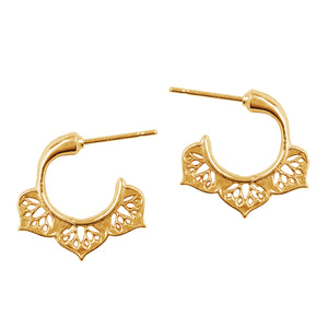 Lotus Petal Huggie Hoop Earrings In Gold