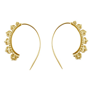 Half Lotus Hoop Earrings in Gold
