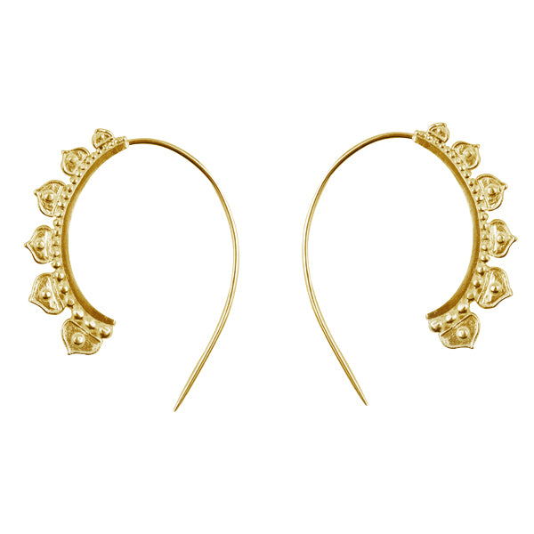 Half Lotus Hoops in Gold