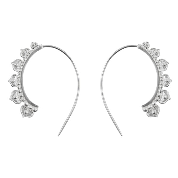 Half Lotus Hoop Earrings in Silver