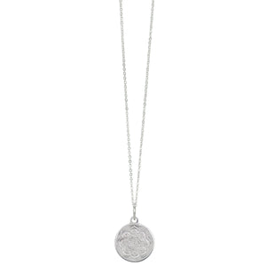 Lotus Coin Necklace in Silver