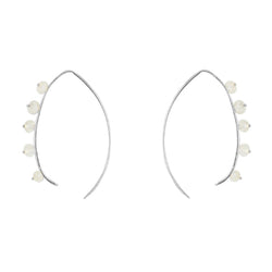 Beaded Crescent Earrings In Silver And Moonstone