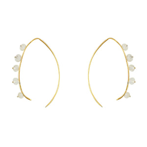 Beaded Crescent Earrings In Gold And Moonstone