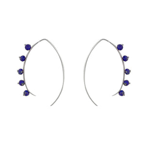 Beaded Crescent Earrings in Silver and Lapis