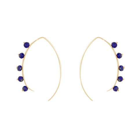 Beaded Crescent Earrings in Gold and Lapis