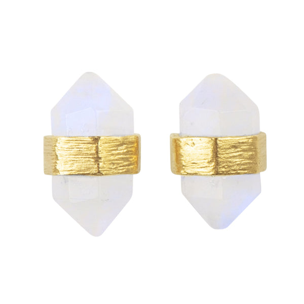 Prism Post Earring In Gold And Moonstone