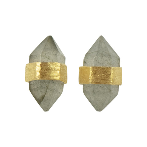 Prism Post Earring In Gold And Labradorite