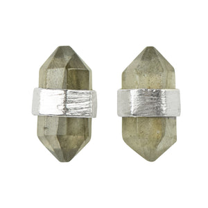 Prism Post Earring In Silver And Labradorite