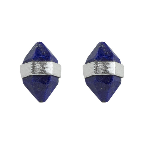 Prism Post Earring In Silver And Lapis