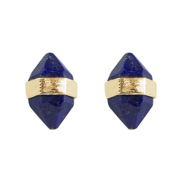 Prism Post Earrings In Gold And Lapis