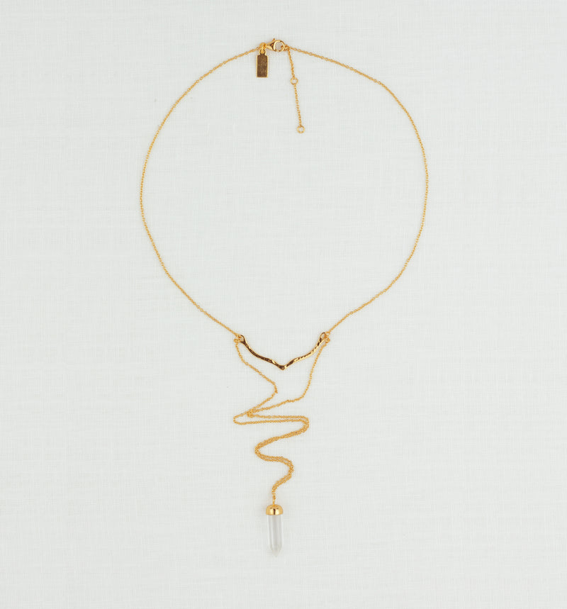 On Point Necklace In Gold And Rock Crystal