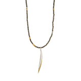 Pyrite Plume Wrap Necklace