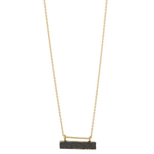 Black Druzy Bar Necklace In Gold