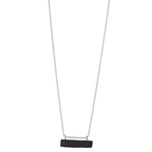 Black Druzy Bar Necklace In Silver