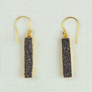 Black Druzy Earrings In Gold