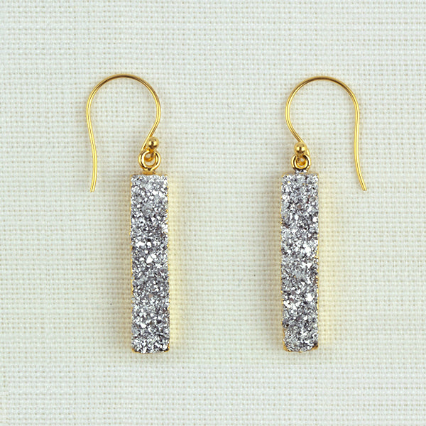 Silver Druzy Quartz Earrings