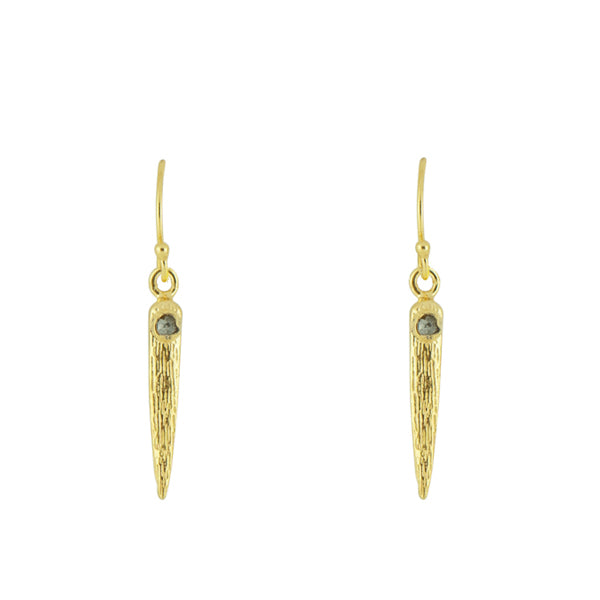Raw Diamond Anlace Earrings in Gold