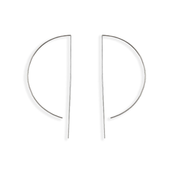 D Wire Hoop Earrings - Large in Silver