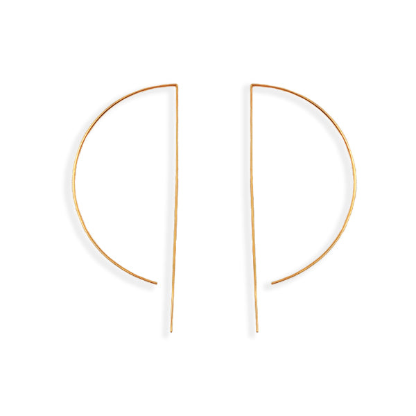 D Wire Hoop Earrings - Large in Gold