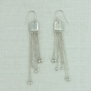 Linked Fringe Earrings In Silver