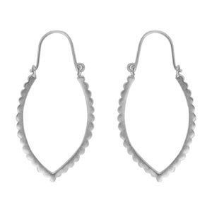 Scalloped Marquise Hoop in Silver