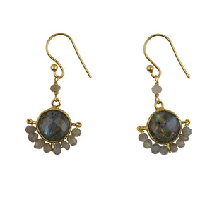 Wrapped Stone Earrings In Gold And Labradorite