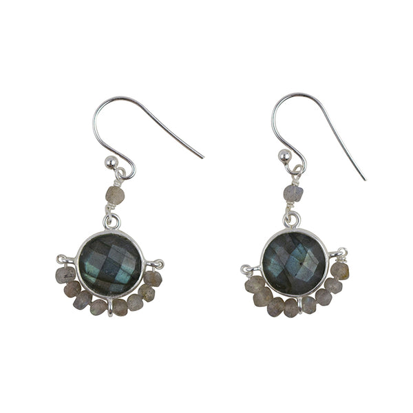 Wrapped Stone Earrings In Silver And Labradorite
