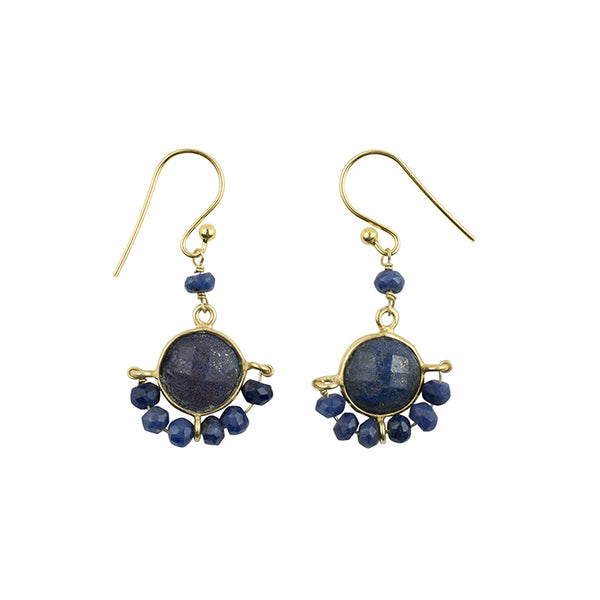 Wrapped Stone Earrings in Lapis and Gold