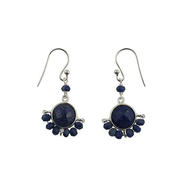 Wrapped Stone Earrings in Silver and Lapis