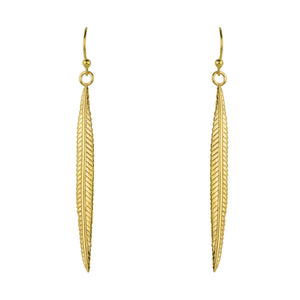 Solitaire Plume Earrings in Gold