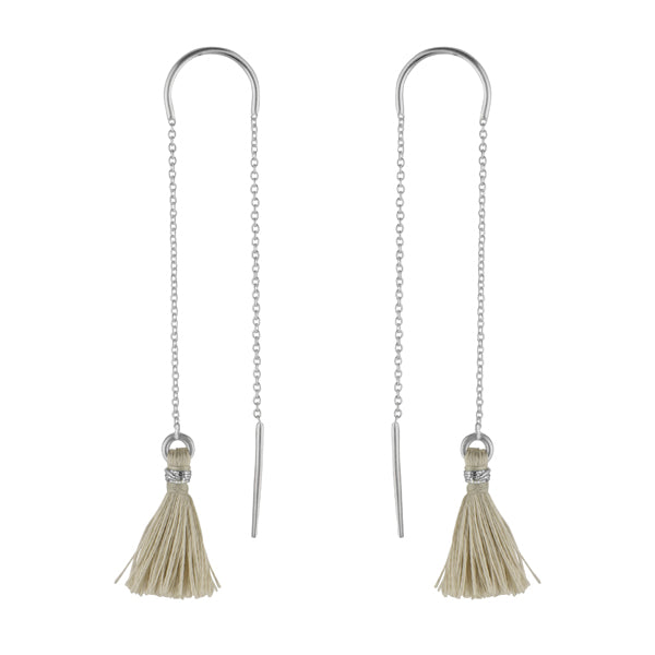 Sandy Beige Tassel Threader Earrings