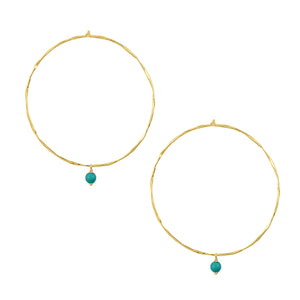 Turquoise Bead Hoop Earrings in Gold