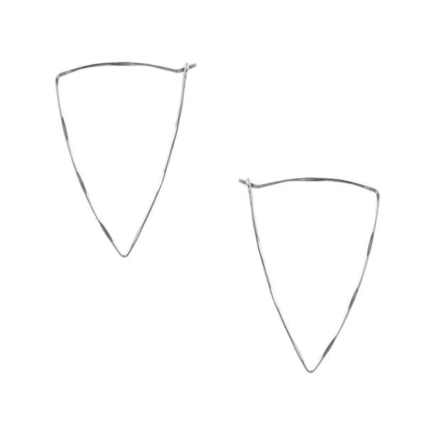 Isosceles Triangle Hoop Earrings in Silver