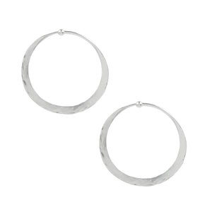 Hammered Hoop Earrings - Medium in Silver