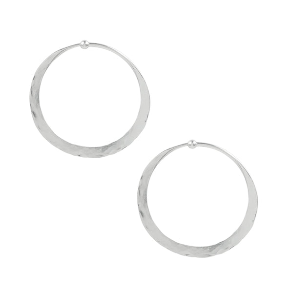 Hammered Hoops in Silver - 1 1/2""