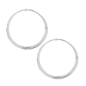 Hammered Hoop Earrings - Large in Silver
