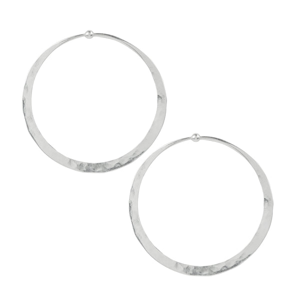Hammered Hoops in Silver - 2""