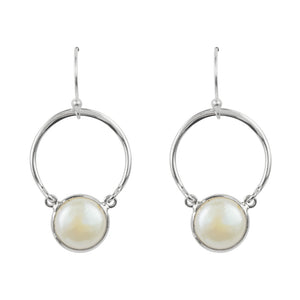 Suspended Pearl Hoop Earrings